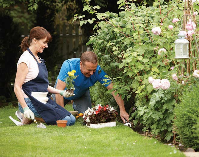 couple working in garden